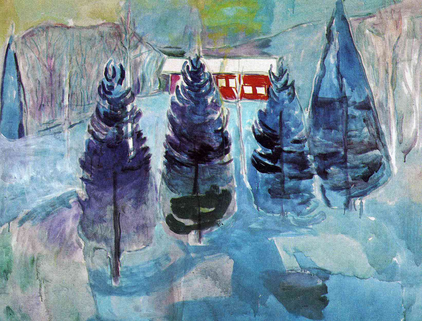 Fir Trees And Red House