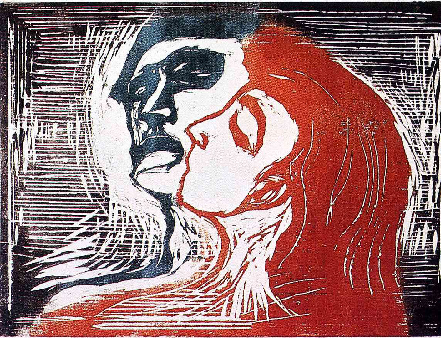 Lovers Woodcut