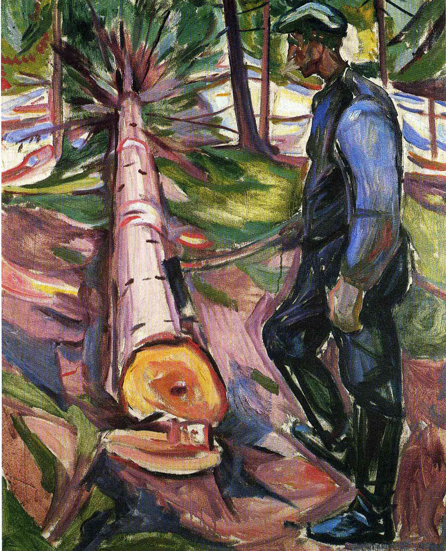 Woodsman With Felled Tree
