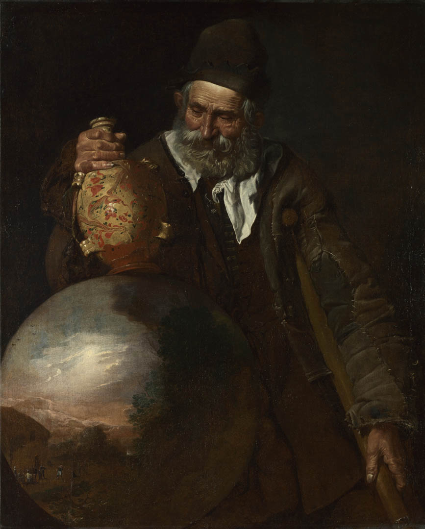 an old man holding a pilgrim bottle