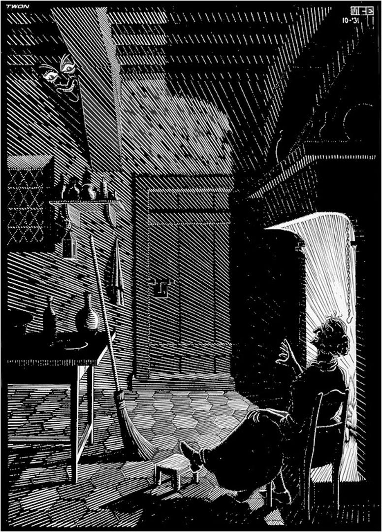 Scholastica illustration page 5 optical illusion m c for Mc escher gallery