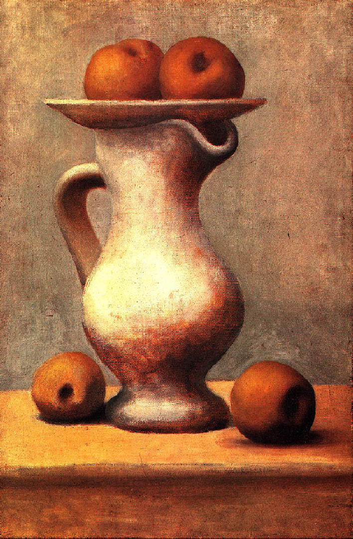 Still Life Of A Pitcher And Some Apples