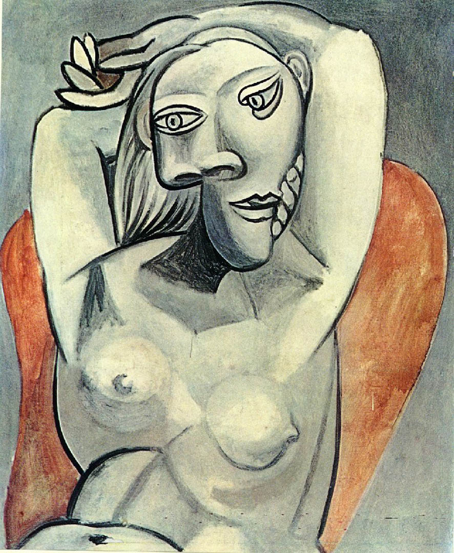 Naked Woman Seated In A Red Armchair
