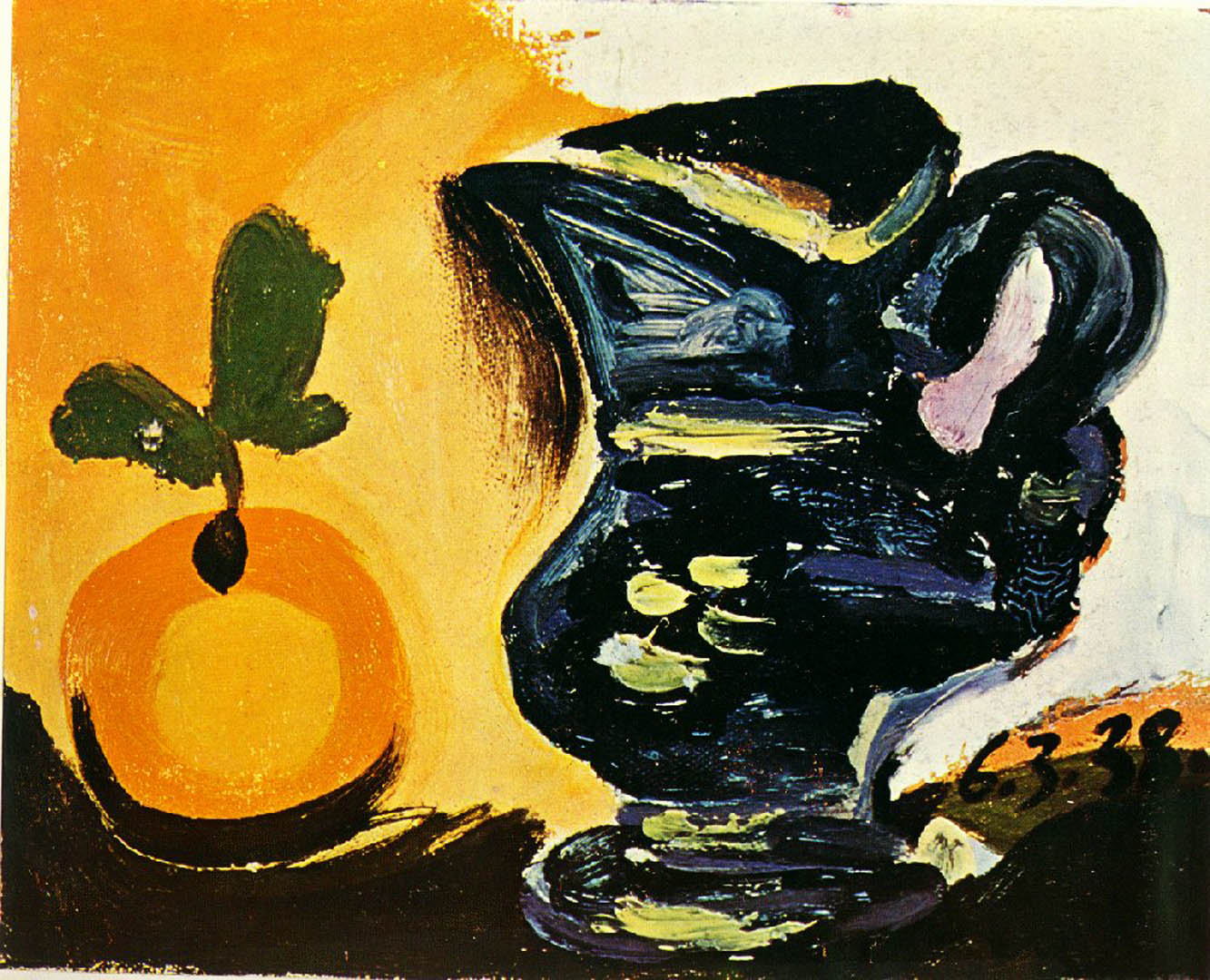 Still Life Of Pitcher And Orange