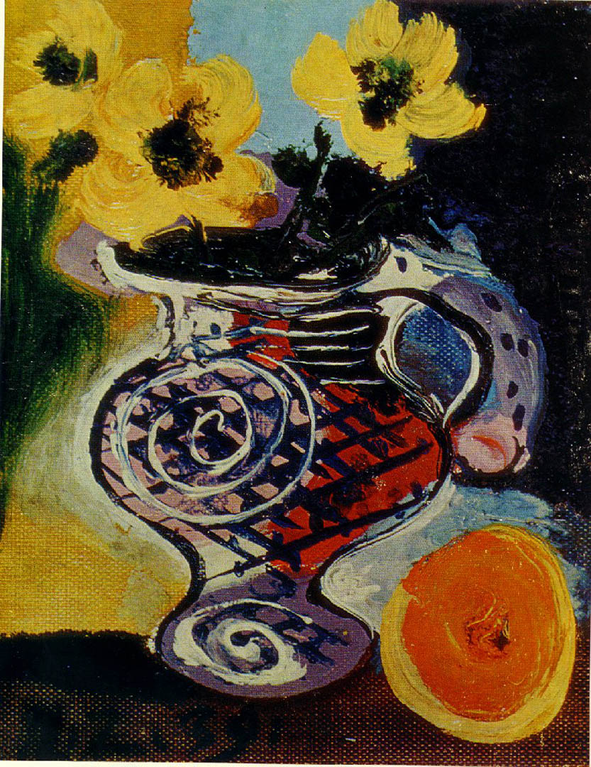 Still Life Of Sunflowers And Fruit