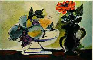 still life of fruit bowl and pitcher of flowers