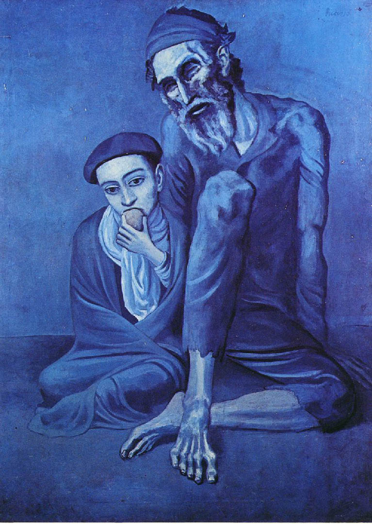 The old beggar picasso blue period art wallpaper picture for Famous monochromatic paintings