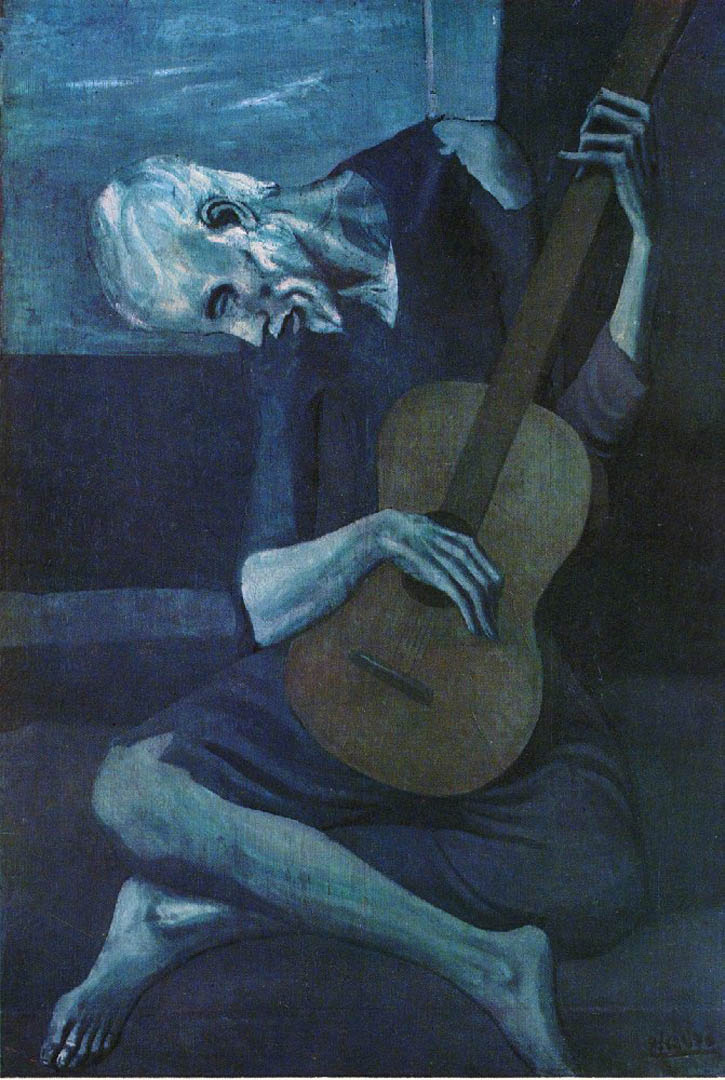 The old blind guitar player picasso blue period art for Famous monochromatic paintings