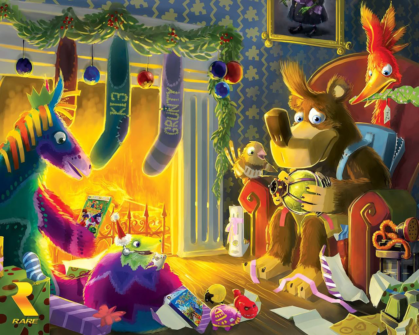 Christmas By The Fire - Action Games Wallpaper Image featuring Banjo