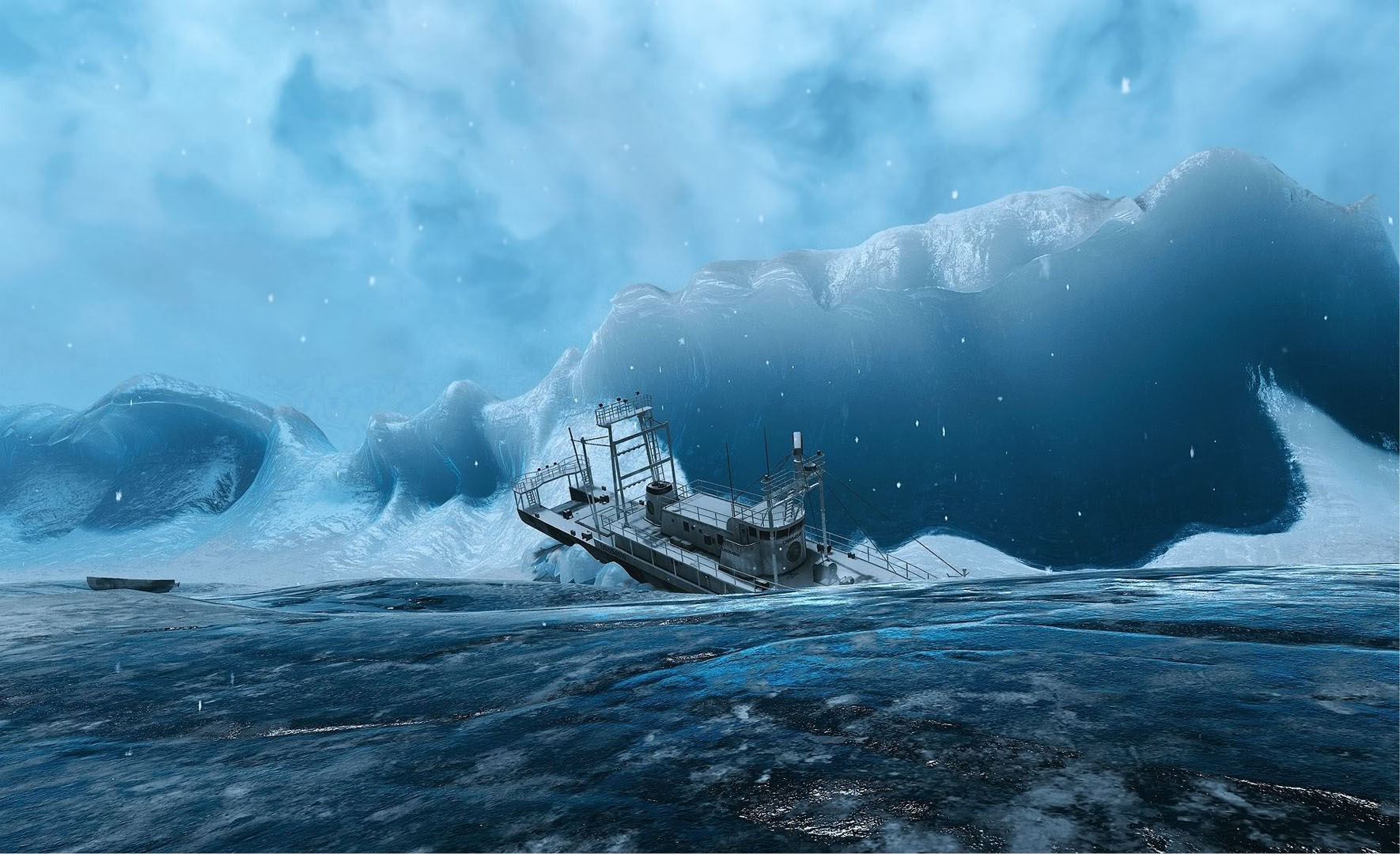 Ship Caught In Glacier