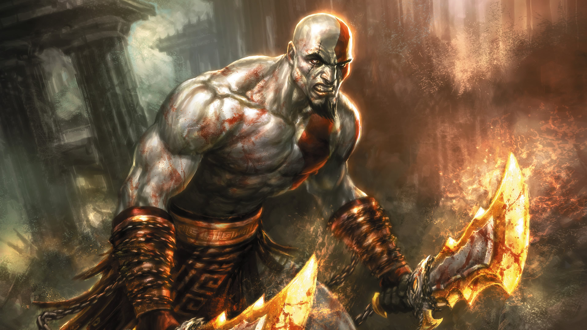 Blades Of Chaos - Action Games Wallpaper Image featuring God Of War