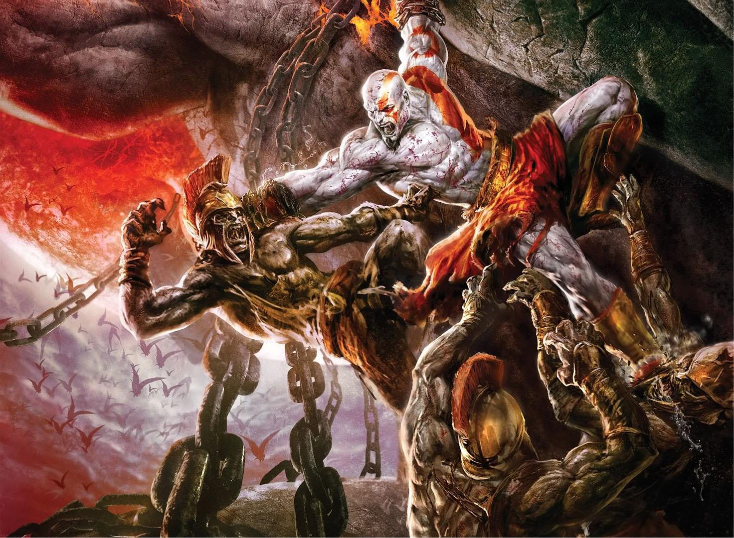 Kratos Fighting Undead Greek Soldiers