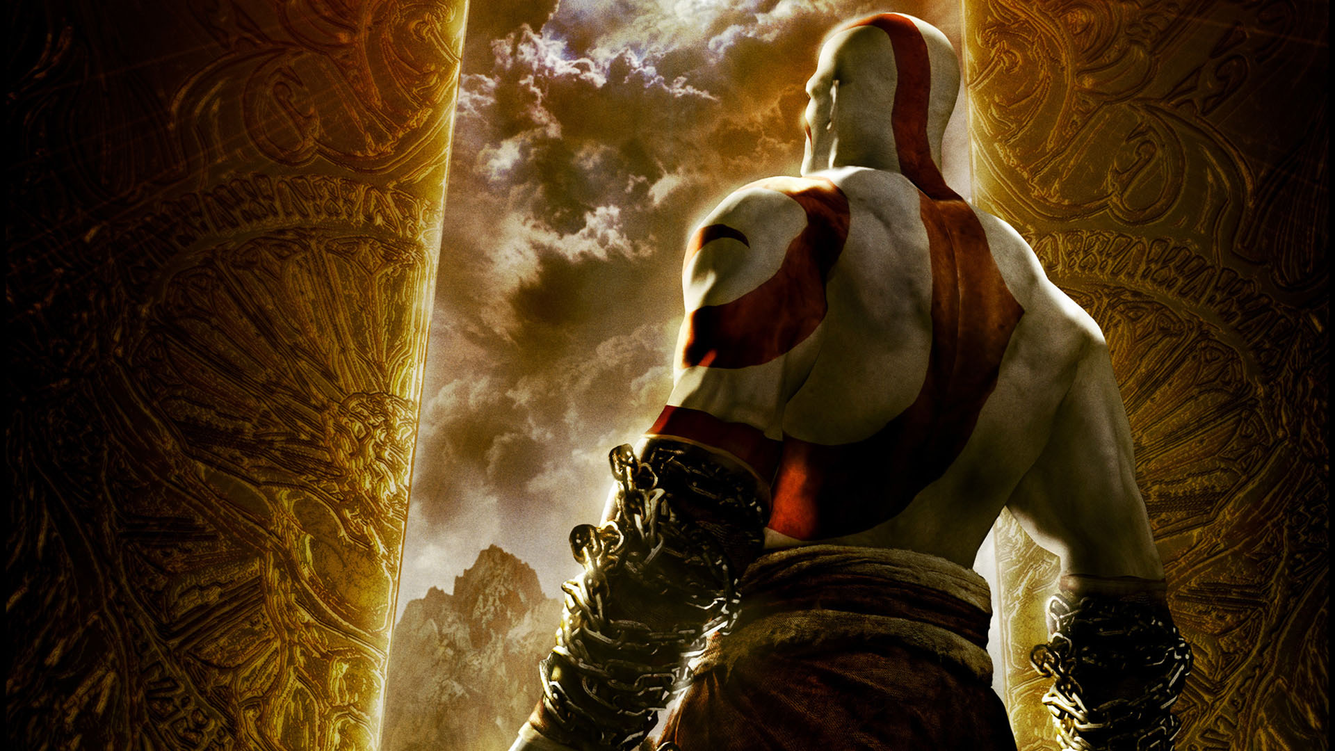 Kratos Looking At Dark Cloudy Skies