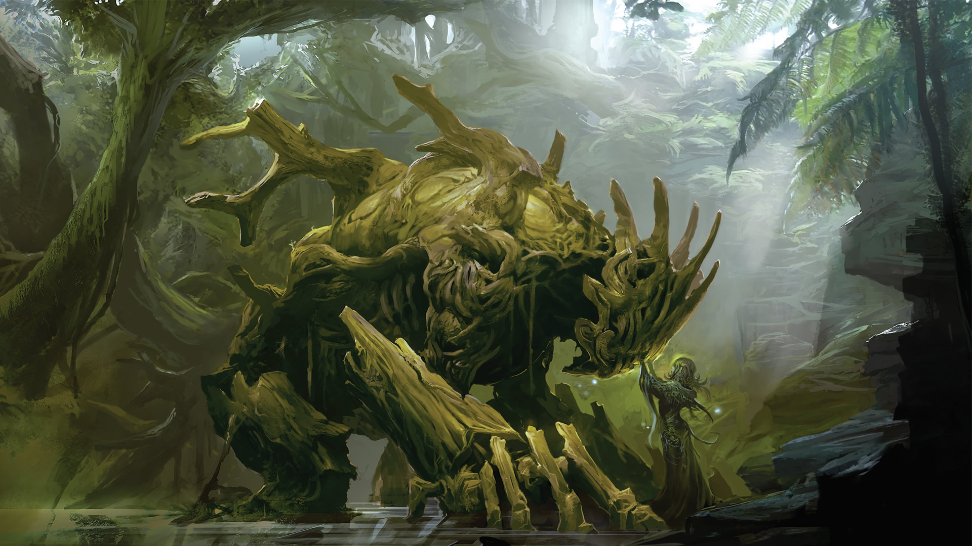 A Sylvari In The Grove With Woodland Creature