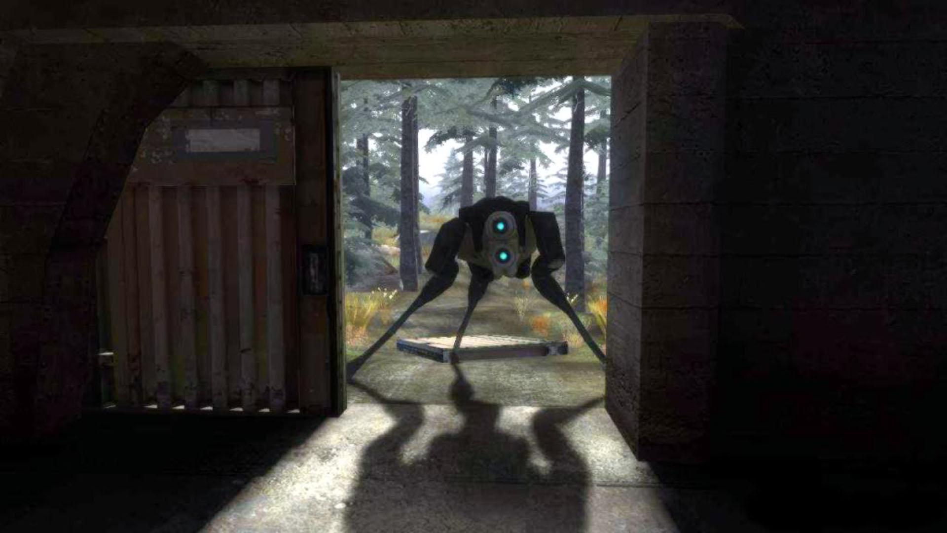 Combine Hunter Looking In Garage Half Life 2 Wallpaper