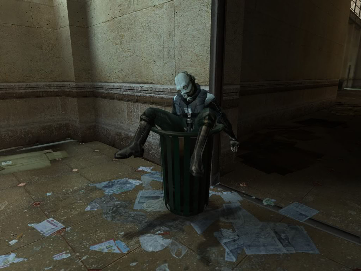 Half Life 2 Combine Wallpaper: Combine Soldier Dumped In The Trash