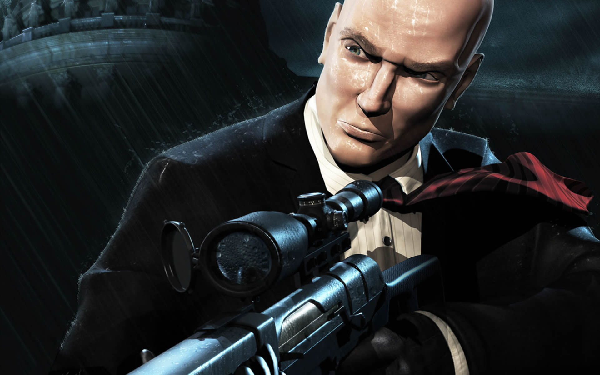 agent 47 with sniper rifle - hitman 2 wallpaper