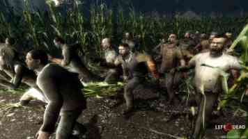 zombies charging through a cornfield