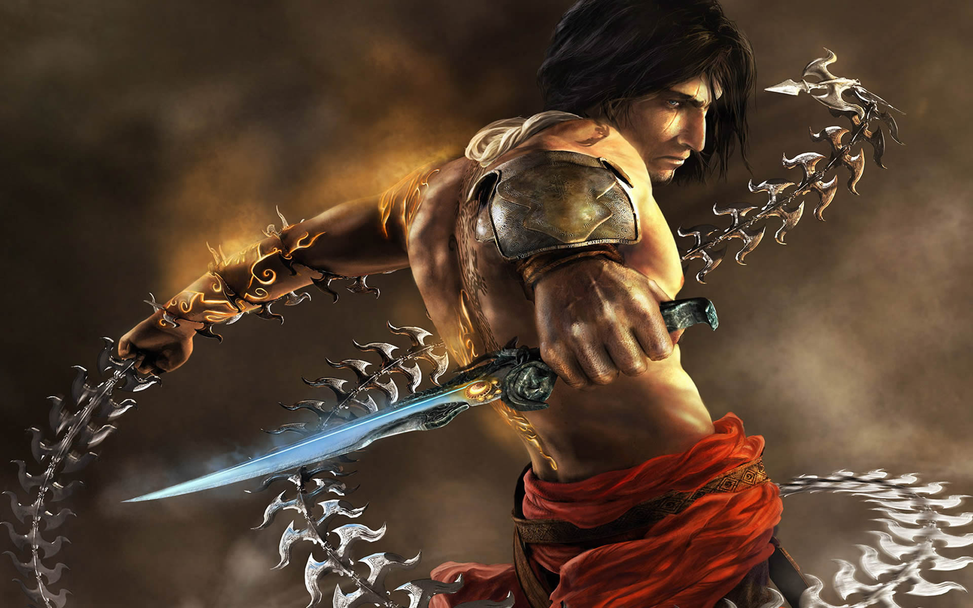 With Dagger And Chain Whip Prince Of Persia Two Thrones Wallpaper