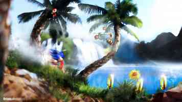 sonic running past palm trees