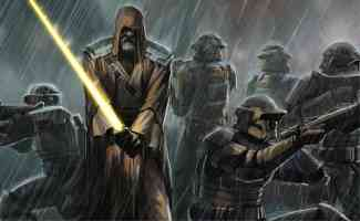 jedi master and rebel soldiers in the rain