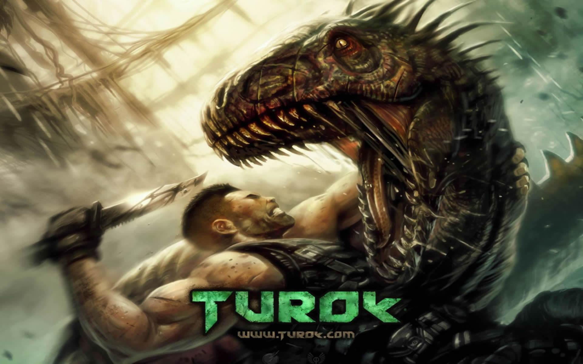 Turok Attacking Dinosaur With Knife