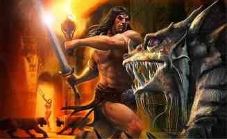 conan attacking dragon
