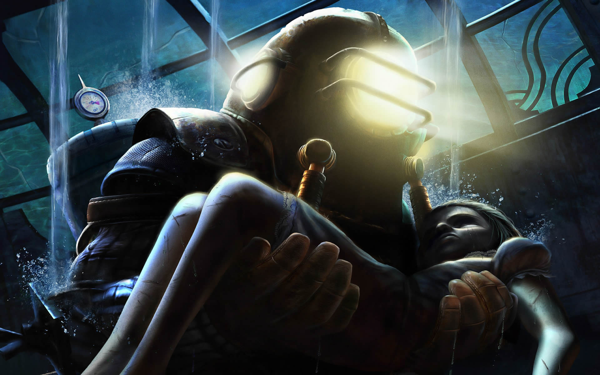 Previous Bioshock Wallpaper Big Daddy Carrying Little Sister