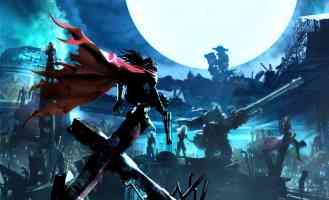 red cloak in a full moon