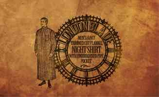 advert for mens fancy trimmed cut flannel nightshirt with embroidered pipe pocket