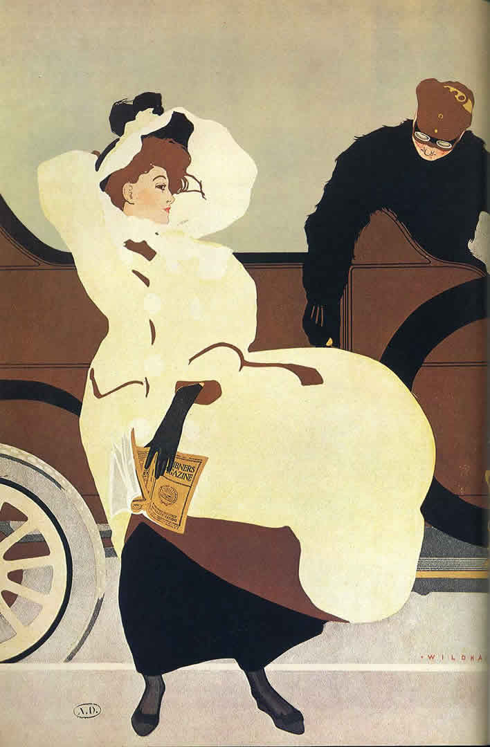 Edwardian Lady And Motorcar
