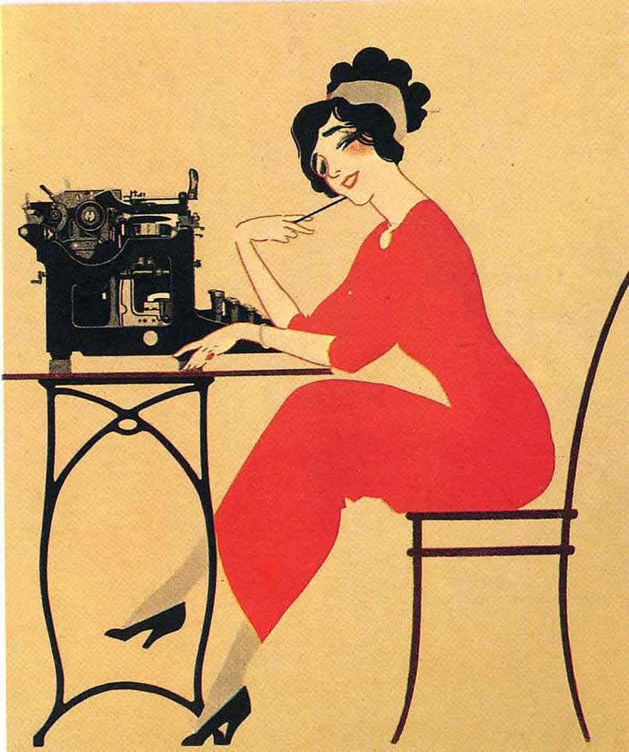 Lady In Red Dress At Typewriter