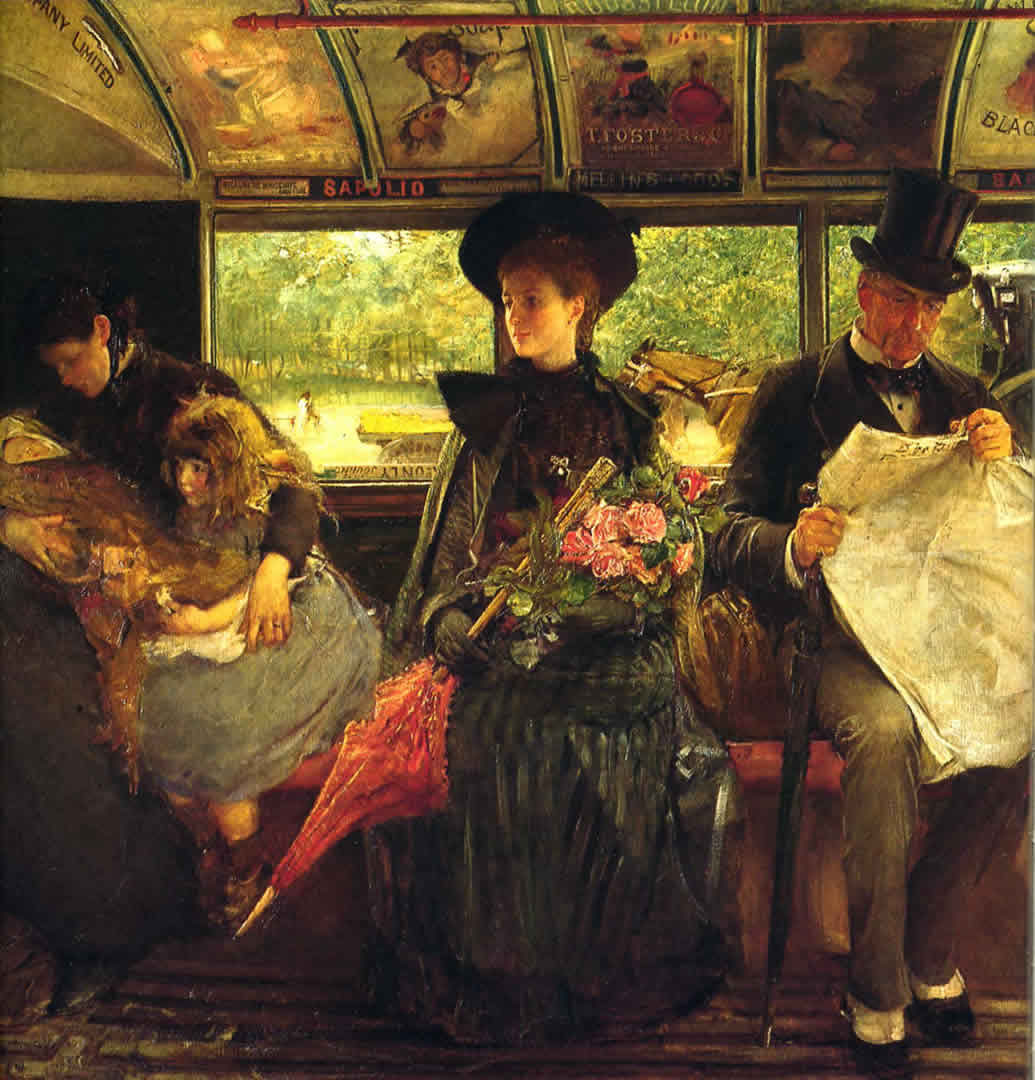On Victorian Tram Interior With Roses