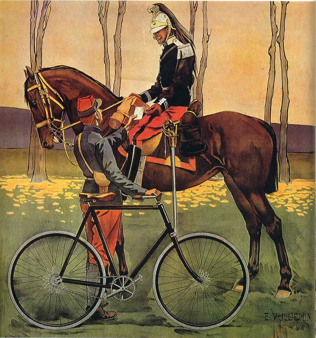 Soldiers With Bicycle And On Horseback