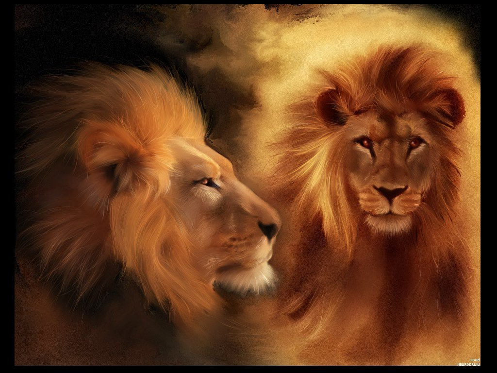 Painting Of Lions