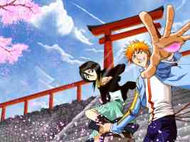 ichigo and rukia at temple steps with cherry blossom