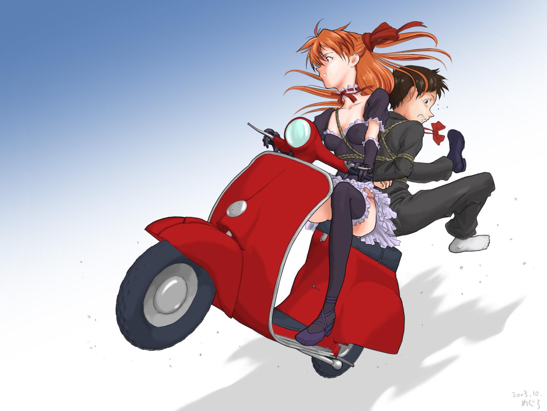 Mamimi And Naota On Moped