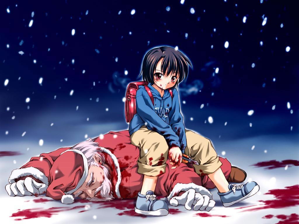 Little Boy Sitting On Beaten Up Father Christmas - General Wallpaper