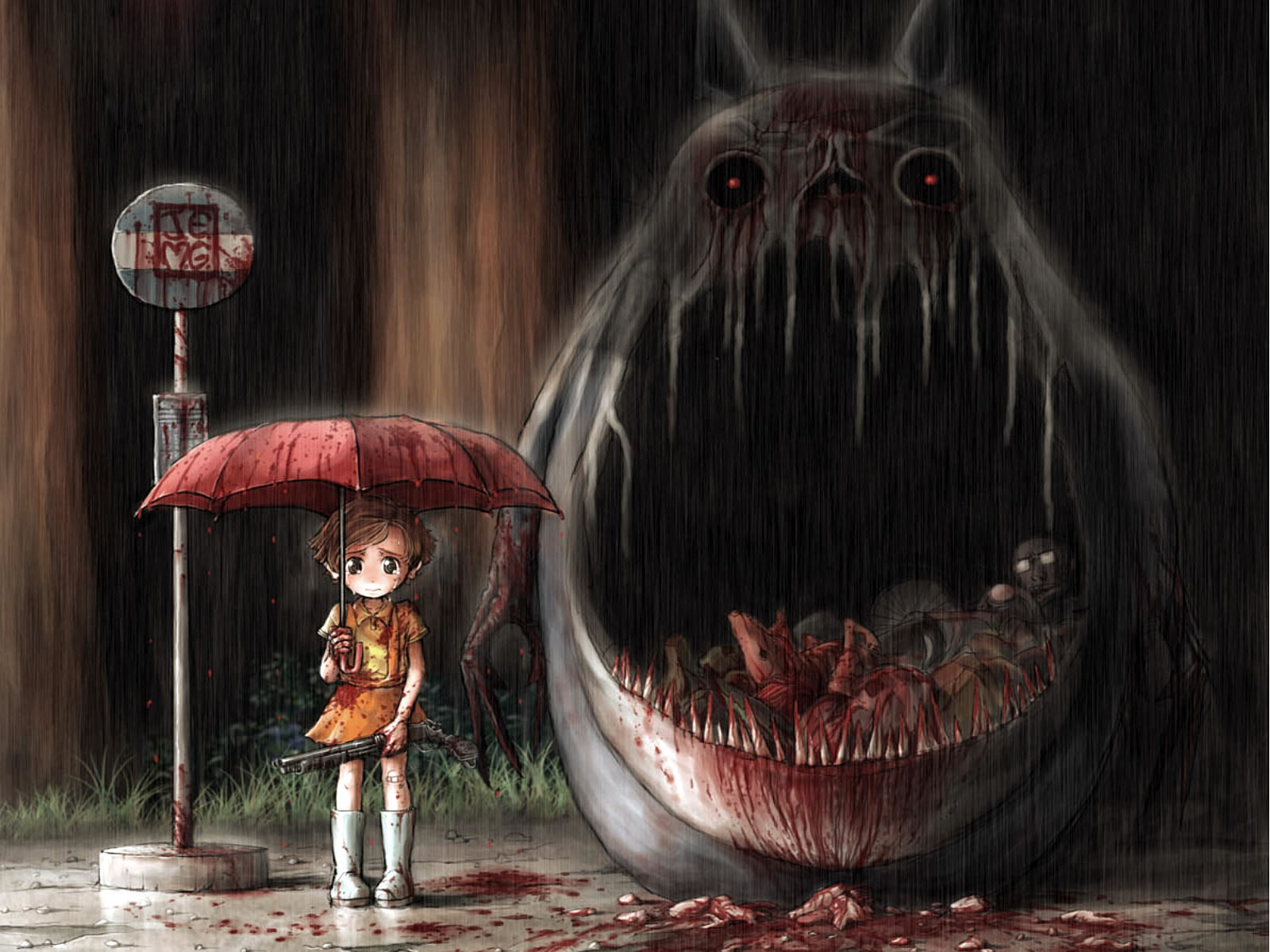 Waiting At The Bus Stop With A Big Monster