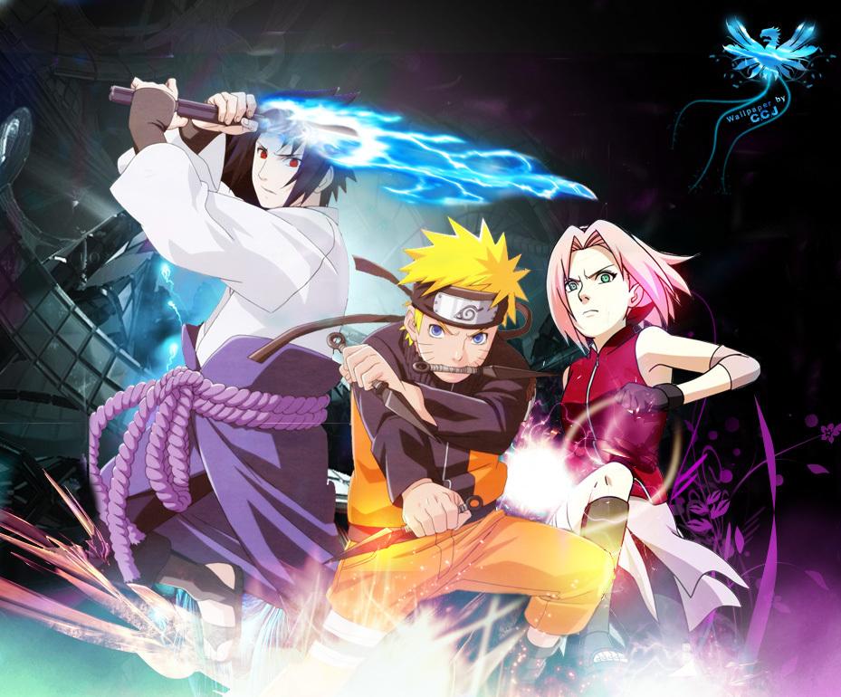 Sasuke Uchiha Naruto Uzumaki Sakura Haruno   Anime Wallpaper Image
