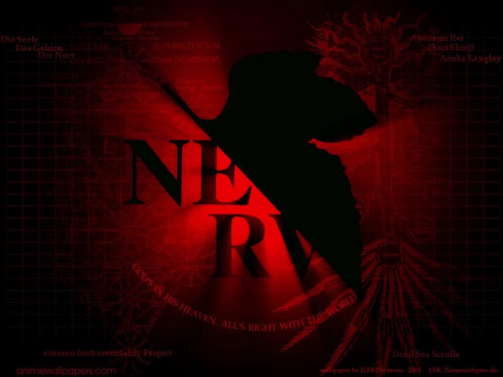 Black Leaf Red Silhouette Neon Genesis Evangelion Wallpaper