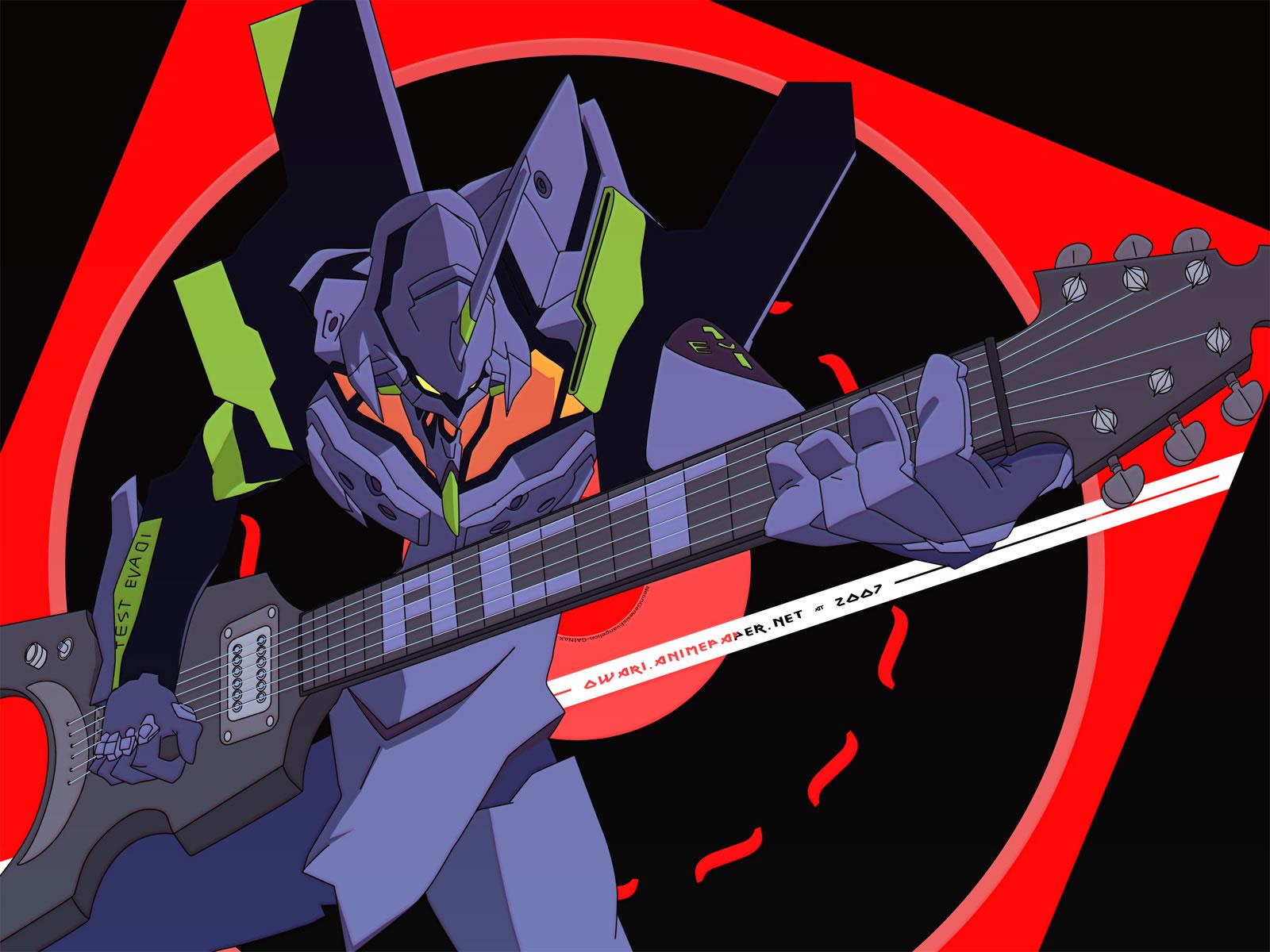 Eva Unit 01 Playing Guitar