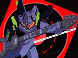 eva unit 01 playing guitar