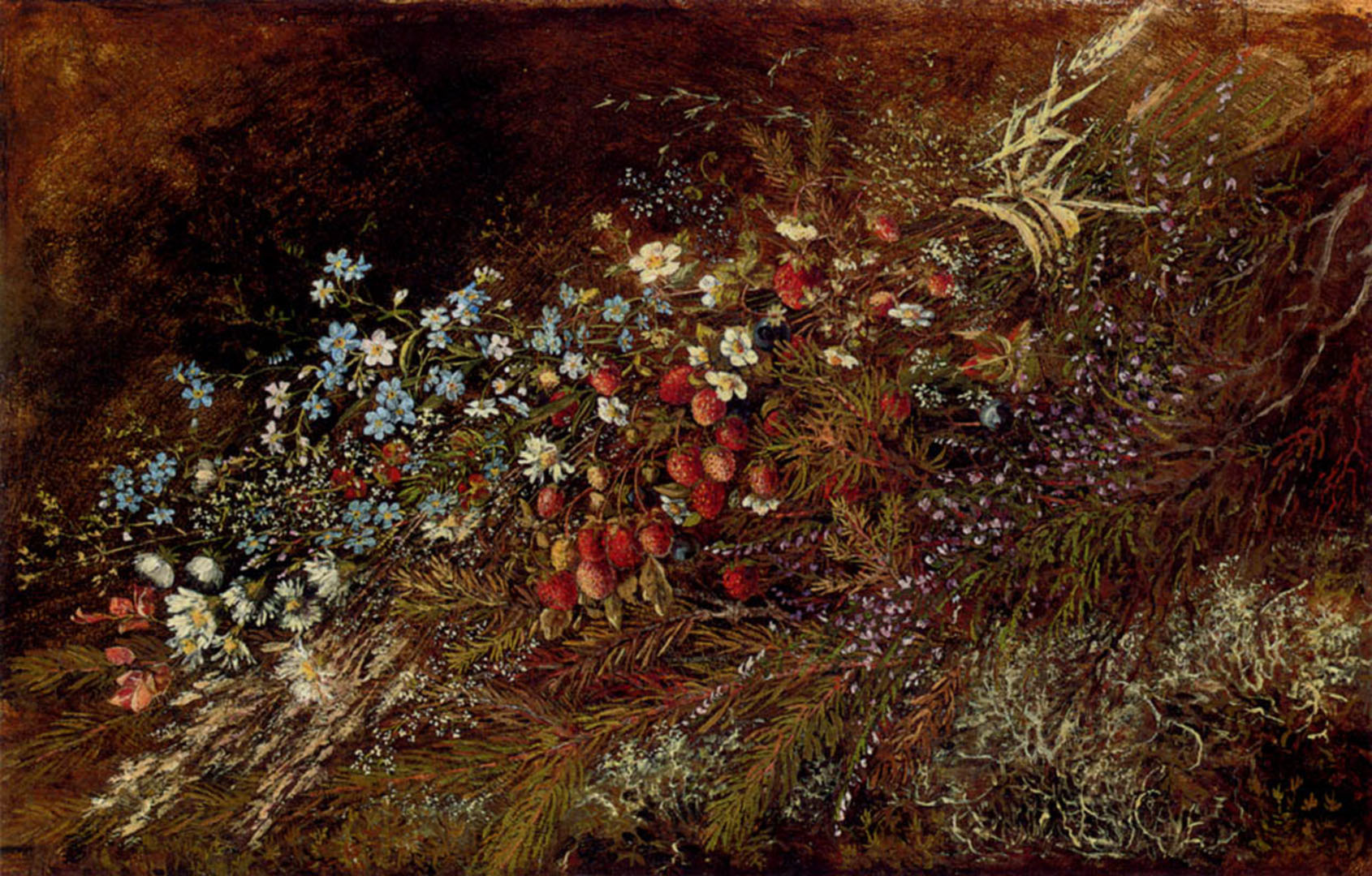 A Bouquet Of Summer Fruits And Flowers On A Mossy Bank