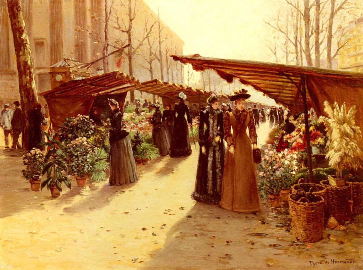 Flower Market At La Madeleine With Vegetables