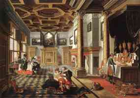 renaissance interior with banqueters