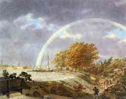 autumn landscape with rainbow