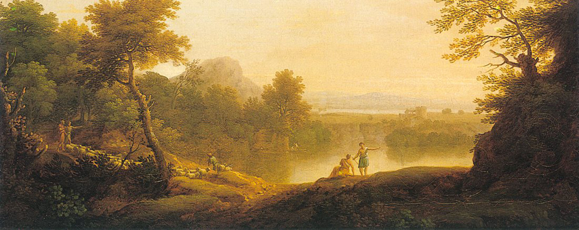 A Pastoral Landscape With Shepherds And Their Flocks