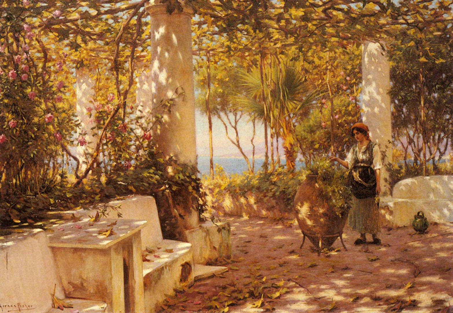 A Peasant Girl On A Sunlit Veranda