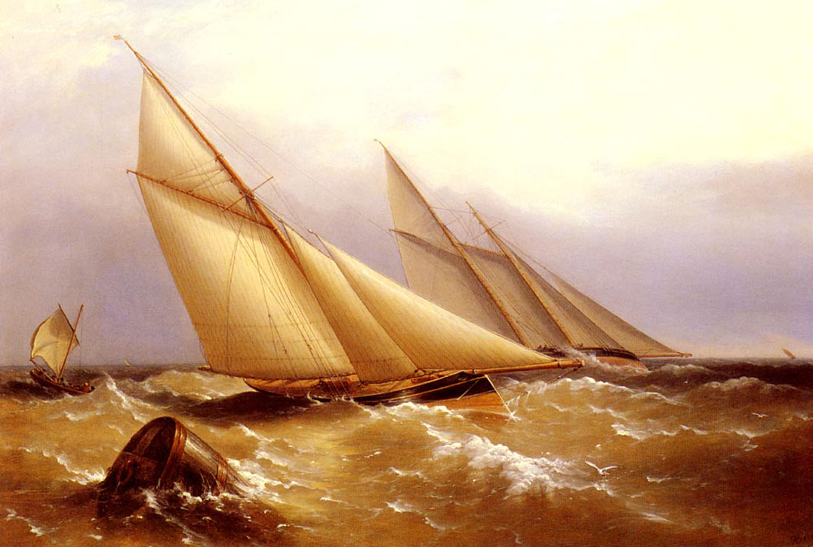 A Schooner And Cutter Yacht Rounding A Buoy